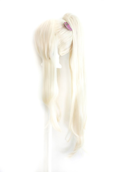 40/'/' Clip on Pig Tail w// Short Pony Tailed Base Wig Framing Buttercream Blond